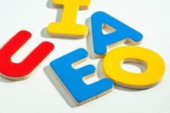 AEIOU, die ersten fünf Buchstaben des Alphabetes Lizenzfreies Stockbild