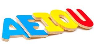 AEIOU, fünf Buchstaben des Alphabetes Lizenzfreies Stockfoto