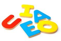 AEIOU, fünf Buchstaben des Alphabetes Stockbild