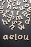 AEIOU Wooden Letters Stock Images