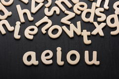 AEIOU Wooden Letters Royalty Free Stock Image