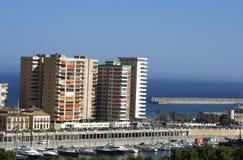 Aeiral-Ansicht von Malga-Hafen in Andalusien, Spanien Stockbild