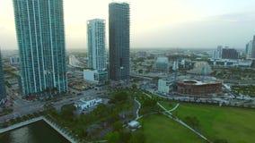 Aeiral video Downtown Miami stock footage