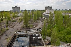 Aeiral view of Pripyat town in Chernobyl Exclusion Zone Stock Photo