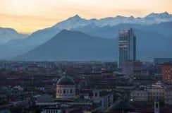 Aeirial-Ansicht von Torino bei Sonnenuntergang Stockbild
