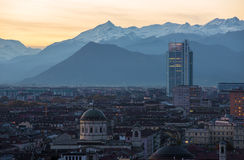 Aeirial view of Torino at sunset Stock Image