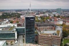 Aeirialmening van de stad van Hamburg stock afbeeldingen