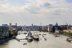 Aelial view of the River Thames. LONDON, GREAT BRITAIN - MAY 16, 2014: It is an aerial view of the River Thames from the height of the Tower Bridge stock photography