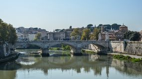 Aelianbrug of Pons Aelius in Rome, Itali? stock afbeelding