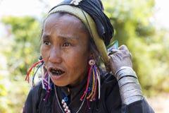 Aeng-Bergvolk-Dame, Myanmar Stockfotos