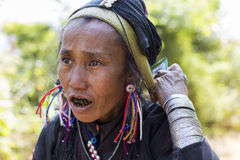 Aeng Hill Tribe Lady, Myanmar. Stock Photos