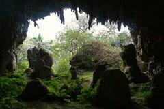 Aeo grande de la anecdotario de la cueva de la piedra caliza en la isla de Rurutu Imagenes de archivo