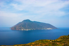 Aeolian islands. The Island of Salina with a high peak named Fossa delle Felci, view from the Island of Lipari, Aeolian islands, Italy Stock Images