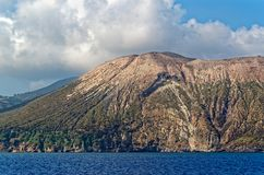 Aeolian Islands, Lipari island, Italy. View from a ship while a sea trip royalty free stock photo