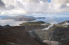 Aeolian Islands or Lipari Islands or Lipari group. View from Vulcano, Lipari in the middle, Salina at the left, Panarea and Stromboli at the right Royalty Free Stock Images