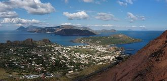 Aeolian islands seen from Vulcano island, Sicily, Stock Image