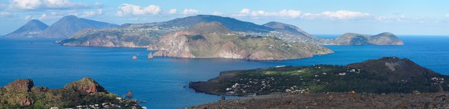 Aeolian islands seen from Vulcano island, Sicily, Royalty Free Stock Photos