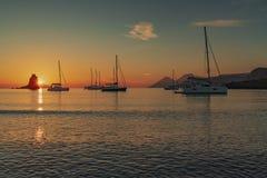 Aeolian islands sunset stock photography
