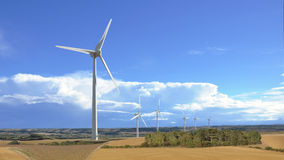 Aeolian windmill in rural landscape panoramic view Stock Image