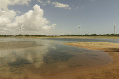 Aeolic turbines on the Guamare beach Royalty Free Stock Image