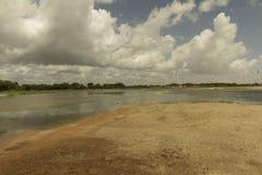Aeolic turbines on the Guamare beach Royalty Free Stock Photo