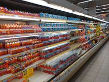Aeon mall , Kota Bharu  24/10/2016: frozen food in market Royalty Free Stock Image