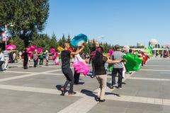Aeróbicos del square dance de China Fotos de archivo libres de regalías