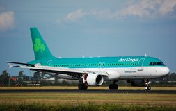 Aer Lingus Airbus 320. An Airbus 320 of Irish Airline Aer Lingus has just landed at Amsterdam Airport royalty free stock image