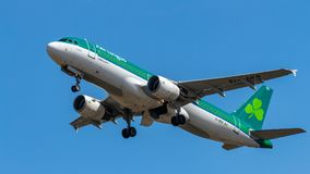 Aer Lingus, Airbus A320. Berlin, Germany, 15.07.2018: Aer Lingus Airbus A320 aircraft flying in the sky, Tegel Airport stock image