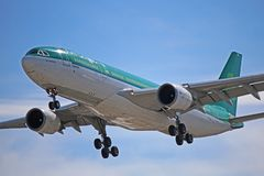 An Aer Lingus Airbus A330-200 Close-Up. Photo of an Aer Lingus Airbus A330-200 on final approach to Toronto Pearson International Airport. The A332 is the second royalty free stock images
