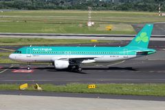 Aer Lingus Airbus A320-200. Irish Aer Lingus Airbus A320-200 with registration EI-DVH on taxiway of Dusseldorf Airport royalty free stock image