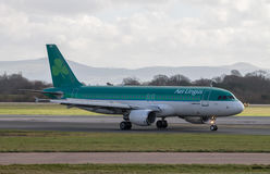 Aer Lingus Airbus A320. Aer Lingus A320 taxiing, Manchester Airport royalty free stock images