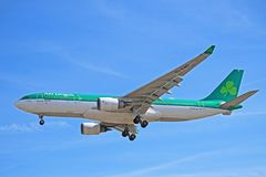 An Aer Lingus Airbus A330-200 About To Land. Photo of an Aer Lingus Airbus A330-200 on final approach to Toronto Pearson International Airport. The A332 is the stock photo
