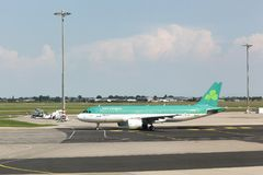 Aer Lingus airplane. Lyon, France - May 27 2017: Aer Lingus airplane at Lyon airport. Aer Lingus is the flag carrier airline of Ireland and the second-largest royalty free stock image