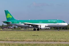 Aer Lingus. Irish Aer Lingus A320-200 with registration EI-EDP just landed on runway 18R Polderbaan of Amsterdam Airport Schiphol royalty free stock photography