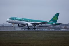 Aer Lingus takes off from Munich Airport, MUC, Germany. Aer Lingus landing on Munich Airport, MUC, Germany stock photography