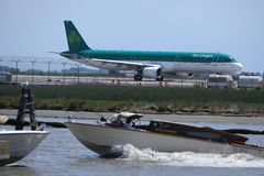 Aer Lingus Plane taxiing in Marco Polo Airport, Venice. VCE stock photo