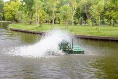 Aeradores para el tratamiento de aguas residuales Foto de archivo libre de regalías