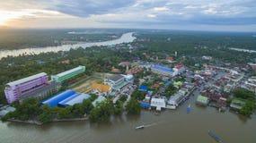 Aerail-Ansicht von amphawa Kanal und von mae klong Fluss der meiste populäre tr Stockbilder