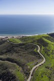 Aerail Corral Canyon Road Malibu California. Aerial view of Corral Canyon Road leading to the Pacific Ocean in Malibu, California Stock Photography