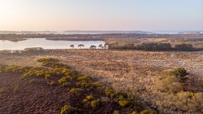 An aerail view of the Studland Nature Reserve with sand dune, peat bog and lake under a majestic hazy blue sky.  royalty free stock photography