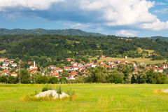 Aeral view Bulgarian Village. Mountains landscape Stock Photos