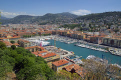 Aeral view of Nice port and city architecture stock image