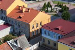 Aeral view of the old historic buildings in center of Pravdinsk, Kaliningrad Oblast, Russia. Pravdinsk german name of town is Friedland was founded in 1312. Is Stock Photos