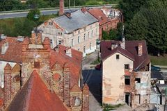 Aeral view of old ruined buildings of Pravdinsk, Kaliningrad Oblast, Russia. Pravdinsk german name of town is Friedland was founded in 1312 by the Teutonic Royalty Free Stock Images