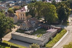 Aeral view of old shabby buildings of Pravdinsk, Kaliningrad Oblast, Russia. Pravdinsk german name of town is Friedland was founded in 1312 by the Teutonic Stock Photo