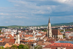 Aeral view over Cluj-Napoca, Romania royalty free stock photography