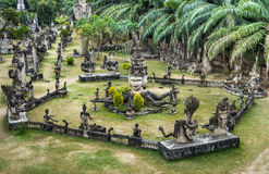 Buddha Park, panorama View - Vientiane, Laos. Aeral view of the wonderful Biddha Park near Vientiane, the capital of Laos Stock Image