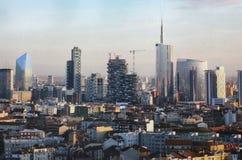 Aeral widok nowy biznesowy disctict Porta Genova Obrazy Royalty Free
