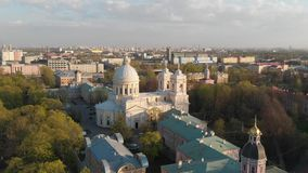 Aeral widok ?wi?ta tr?jca Aleksander Nevsky Lavra Architektoniczny kompleks z Ortodoksalnym monasterem, neoklasyczna katedra a zbiory wideo